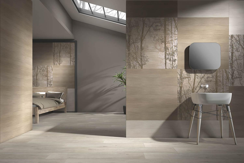 Fliesen-in-Holzoptik-Waschbecken-vereint-mit-Wohnraum